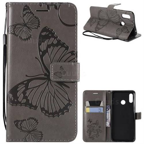 Embossing 3D Butterfly Leather Wallet Case for Huawei Nova 3 - Gray