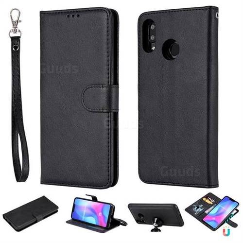 Retro Greek Detachable Magnetic PU Leather Wallet Phone Case for Huawei Nova 3 - Black