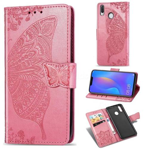 Embossing Mandala Flower Butterfly Leather Wallet Case for Huawei Nova 3 - Pink