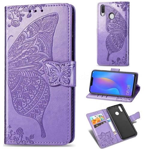 Embossing Mandala Flower Butterfly Leather Wallet Case for Huawei Nova 3 - Light Purple
