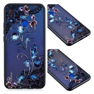 Butterfly Lace Diamond Flower Soft TPU Back Cover for Huawei P Smart+ (Nova 3i)