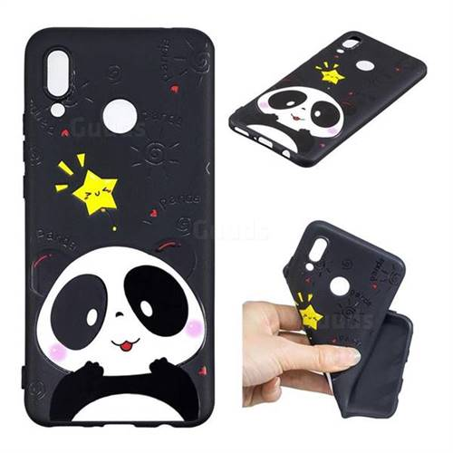 Cute Bear 3D Embossed Relief Black TPU Cell Phone Back Cover for Huawei P Smart+ (Nova 3i)