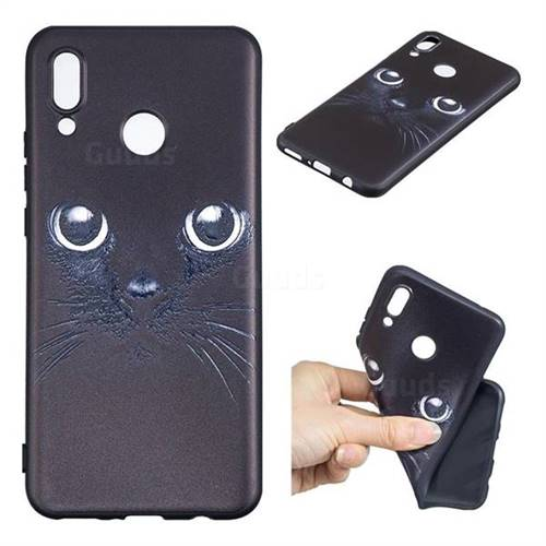 Bearded Feline 3D Embossed Relief Black TPU Cell Phone Back Cover for Huawei P Smart+ (Nova 3i)