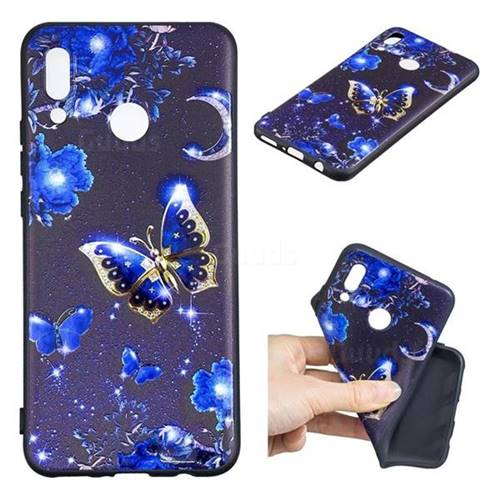 Phnom Penh Butterfly 3D Embossed Relief Black TPU Cell Phone Back Cover for Huawei P Smart+ (Nova 3i)