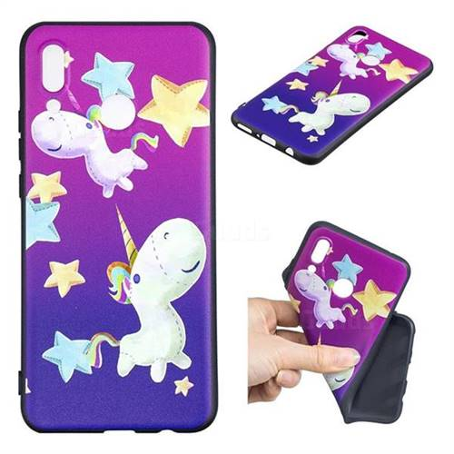 Pony 3D Embossed Relief Black TPU Cell Phone Back Cover for Huawei P Smart+ (Nova 3i)