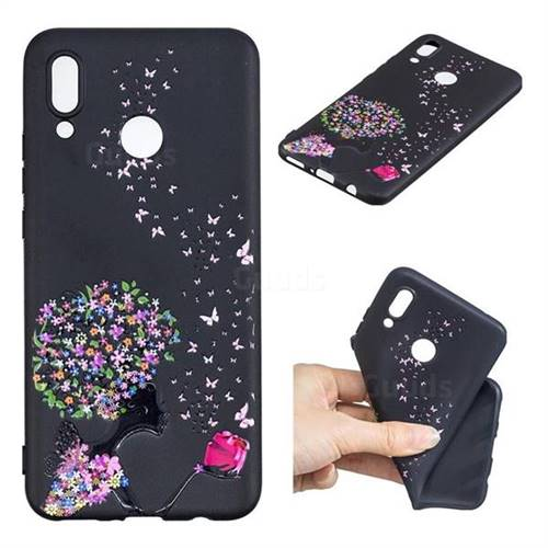 Corolla Girl 3D Embossed Relief Black TPU Cell Phone Back Cover for Huawei Nova 3i