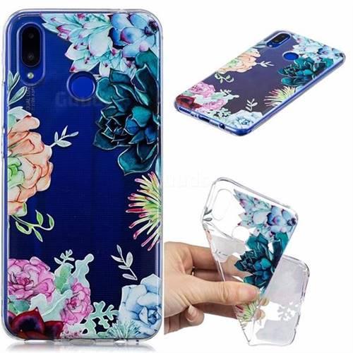 Gem Flower Clear Varnish Soft Phone Back Cover for Huawei P Smart+ (Nova 3i)