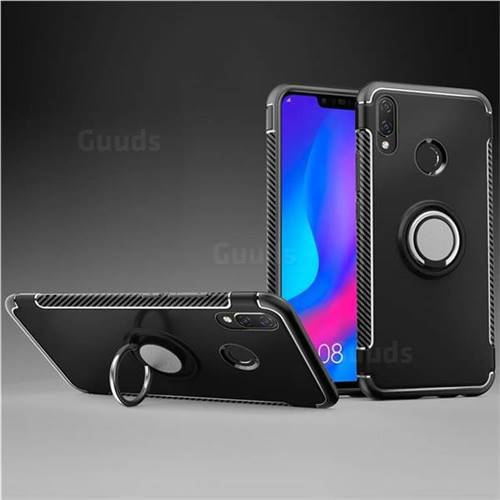 Armor Anti Drop Carbon PC + Silicon Invisible Ring Holder Phone Case for Huawei Nova 3i - Black