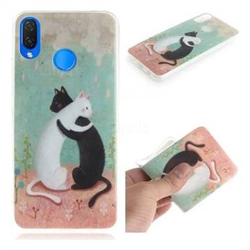Black and White Cat IMD Soft TPU Cell Phone Back Cover for Huawei Nova 3i