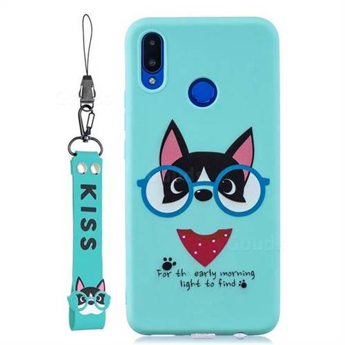 Green Glasses Dog Soft Kiss Candy Hand Strap Silicone Case for Huawei Nova 3i