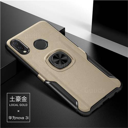 Knight Armor Anti Drop PC + Silicone Invisible Ring Holder Phone Cover for Huawei Nova 3i - Champagne