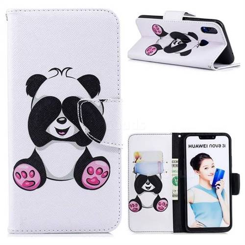 Lovely Panda Leather Wallet Case for Huawei P Smart+ (Nova 3i)