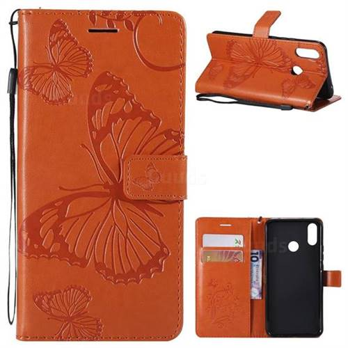 Embossing 3D Butterfly Leather Wallet Case for Huawei P Smart+ (Nova 3i) - Orange
