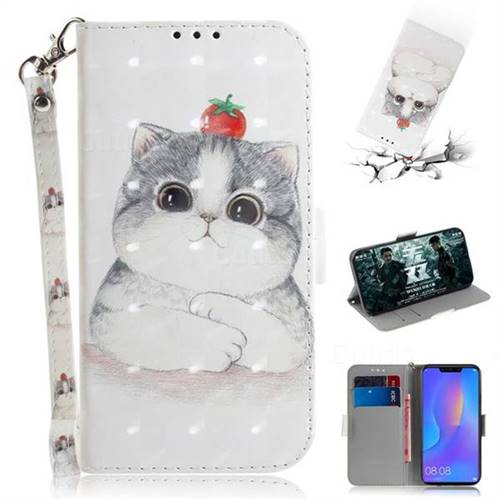 Cute Tomato Cat 3D Painted Leather Wallet Phone Case for Huawei P Smart+ (Nova 3i)