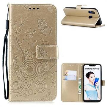 Intricate Embossing Butterfly Circle Leather Wallet Case for Huawei P Smart+ (Nova 3i) - Champagne