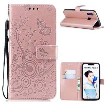 Intricate Embossing Butterfly Circle Leather Wallet Case for Huawei Nova 3i - Rose Gold