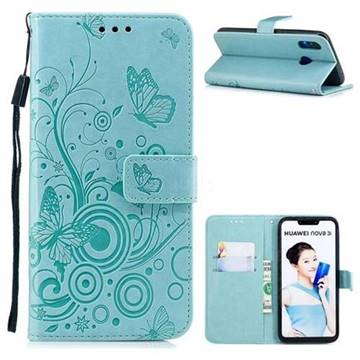 Intricate Embossing Butterfly Circle Leather Wallet Case for Huawei Nova 3i - Cyan