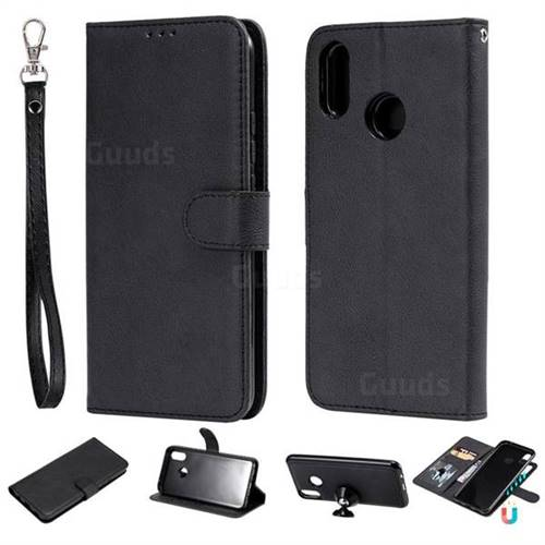 Retro Greek Detachable Magnetic PU Leather Wallet Phone Case for Huawei P Smart+ (Nova 3i) - Black