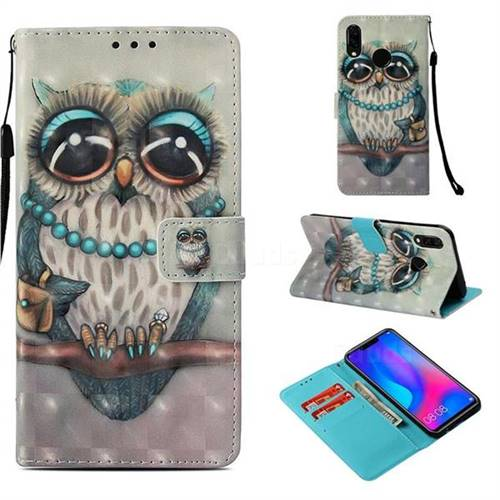 Sweet Gray Owl 3D Painted Leather Wallet Case for Huawei Nova 3i
