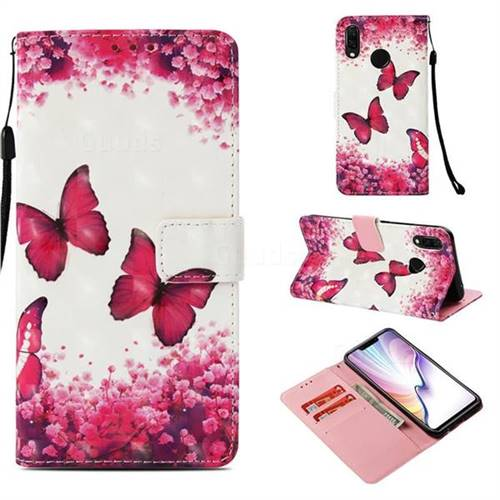Rose Butterfly 3D Painted Leather Wallet Case for Huawei Nova 3i