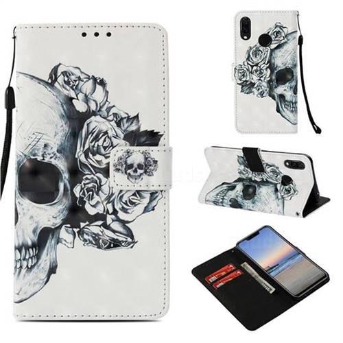 Skull Flower 3D Painted Leather Wallet Case for Huawei P Smart+ (Nova 3i)