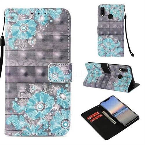 Blue Flower 3D Painted Leather Wallet Case for Huawei Nova 3i