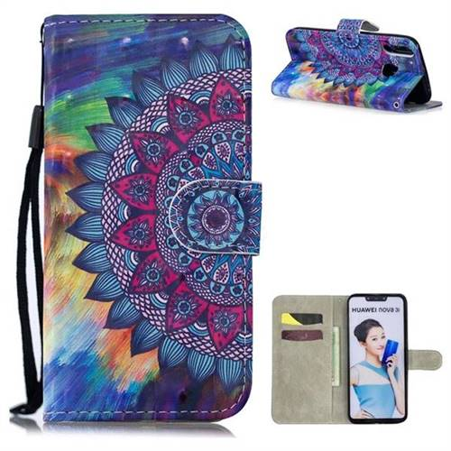 Oil Painting Mandala 3D Painted Leather Wallet Phone Case for Huawei P Smart+ (Nova 3i)