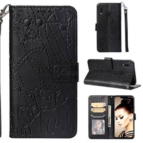 Embossing Fireworks Elephant Leather Wallet Case for Huawei P Smart+ (Nova 3i) - Black
