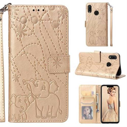 Embossing Fireworks Elephant Leather Wallet Case for Huawei P Smart+ (Nova 3i) - Golden