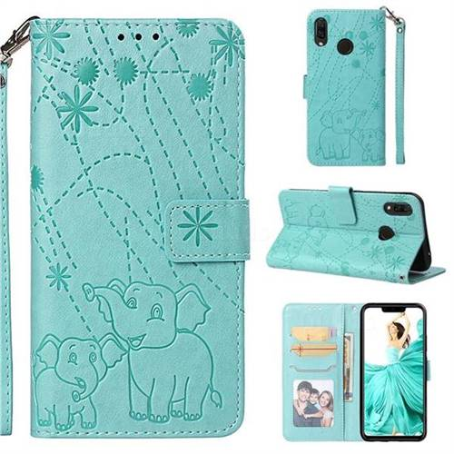 Embossing Fireworks Elephant Leather Wallet Case for Huawei P Smart+ (Nova 3i) - Green