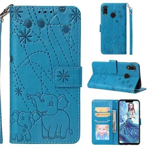 Embossing Fireworks Elephant Leather Wallet Case for Huawei Nova 3i - Blue