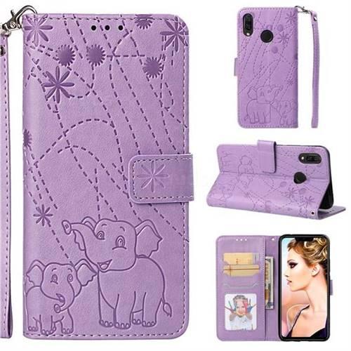 Embossing Fireworks Elephant Leather Wallet Case for Huawei P Smart+ (Nova 3i) - Purple