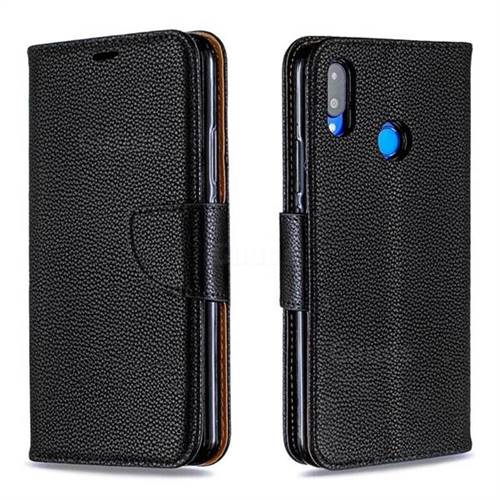 Classic Luxury Litchi Leather Phone Wallet Case for Huawei Nova 3i - Black