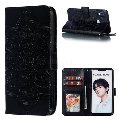 finest selection 10133 33518 Intricate Embossing Datura Solar Leather Wallet Case for Huawei Nova 3i -  Black - Huawei Nova 3i Cases - Guuds