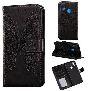 Intricate Embossing Vivid Butterfly Leather Wallet Case for Huawei Nova 3i - Black