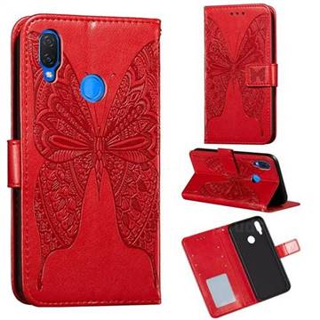 Intricate Embossing Vivid Butterfly Leather Wallet Case for Huawei Nova 3i - Red