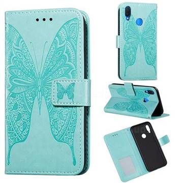 Intricate Embossing Vivid Butterfly Leather Wallet Case for Huawei Nova 3i - Green