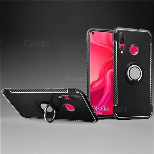 Armor Anti Drop Carbon PC + Silicon Invisible Ring Holder Phone Case for Huawei nova 4 - Black