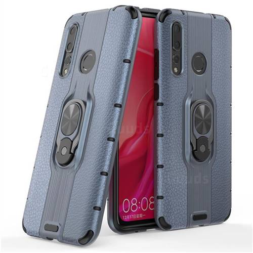 Alita Battle Angel Armor Metal Ring Grip Shockproof Dual Layer Rugged Hard Cover for Huawei nova 4 - Blue