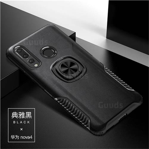 Knight Armor Anti Drop PC + Silicone Invisible Ring Holder Phone Cover for Huawei nova 4 - Black