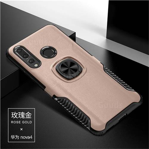 Knight Armor Anti Drop PC + Silicone Invisible Ring Holder Phone Cover for Huawei nova 4 - Rose Gold