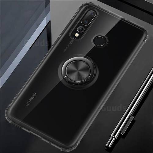 Anti-fall Invisible Press Bounce Ring Holder Phone Cover for Huawei nova 4 - Elegant Black