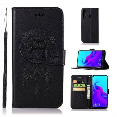 Intricate Embossing Owl Campanula Leather Wallet Case for Huawei nova 4 - Black