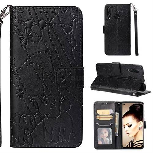 Embossing Fireworks Elephant Leather Wallet Case for Huawei nova 4 - Black