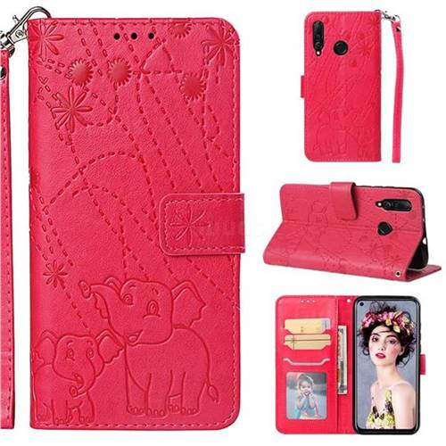 Embossing Fireworks Elephant Leather Wallet Case for Huawei nova 4 - Red