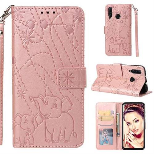 Embossing Fireworks Elephant Leather Wallet Case for Huawei nova 4 - Rose Gold