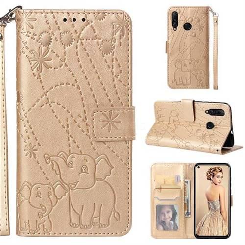 Embossing Fireworks Elephant Leather Wallet Case for Huawei nova 4 - Golden