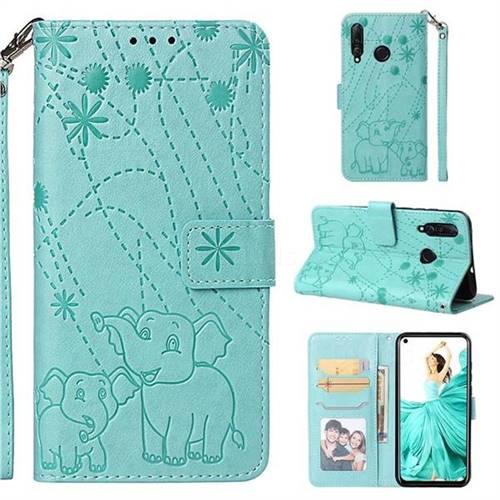 Embossing Fireworks Elephant Leather Wallet Case for Huawei nova 4 - Green