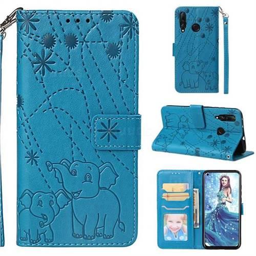 Embossing Fireworks Elephant Leather Wallet Case for Huawei nova 4 - Blue