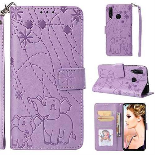 Embossing Fireworks Elephant Leather Wallet Case for Huawei nova 4 - Purple
